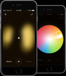 (c) Luke Roberts, Die App: Wo man das Display mit dem Finger berührt, dorthin richtet sich das Licht im Raum