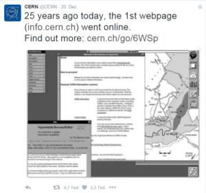 (c) CERN: Tweet über das Jubiläum.