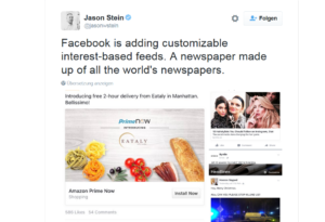 Facebook testet Themen-Channels anstatt des News Feeds. (c) Screenshot Twitter Jason Stein