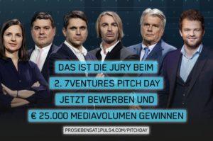 Die hochkarätige Jury des 7Venture Pitch Day. (c) Puls4