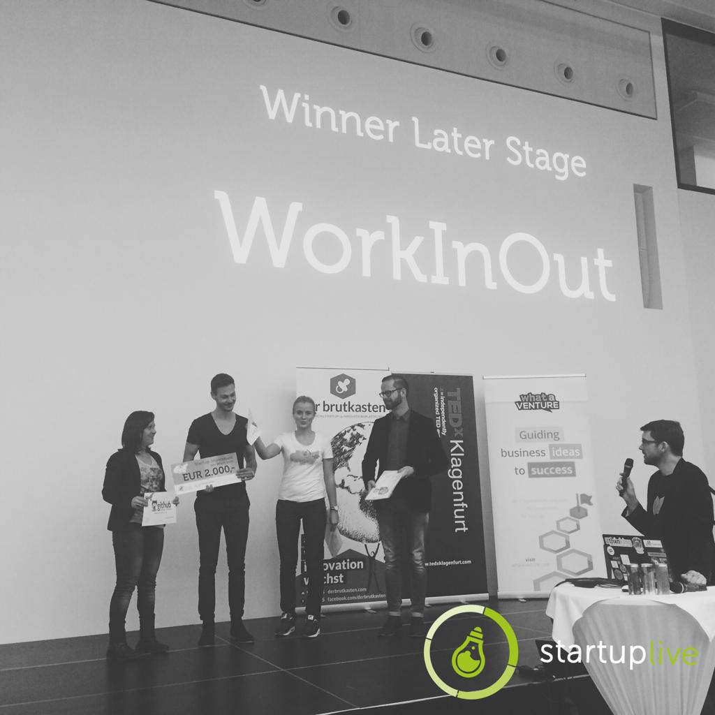Die Gewinner der Later Stage: WorkInOut (c) Facebook Startup-Live Klagenfurt.