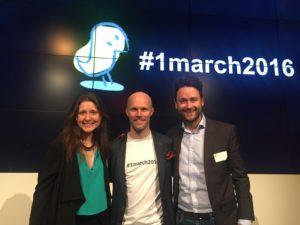 Firstbird Co-Gründer Mathias Wolf (Mitte), Brutkasten-Founder Dejan Jovicevic, Chefredakteurin-Brutkasten Theresa Breitsching