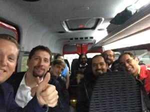 """(c) RIZ: Studierende und Founder kamen im """"Pitching-Bus"""" von Wien."""