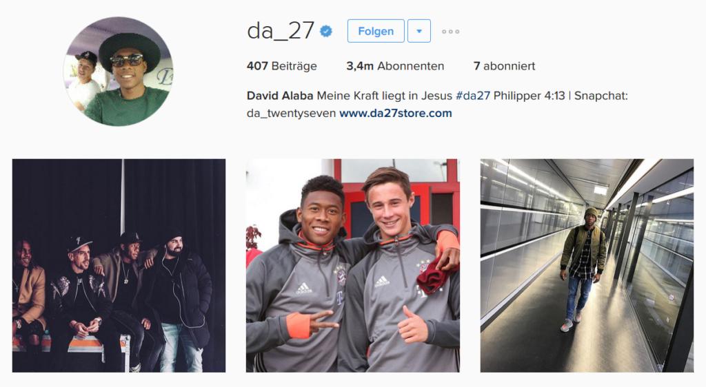 Screenshot Instagram David Alaba