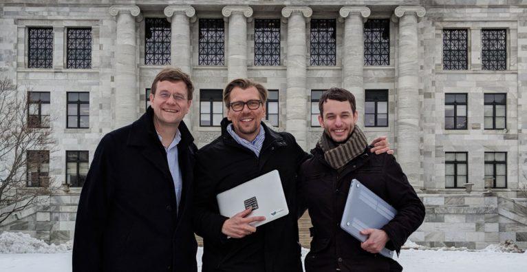 v.l.: 123sonography USA Managing Director Chris Bene mit CEO Klaus Müller und Produktmanager Ryan Crowder in Boston.