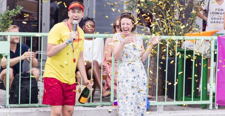 (c) Tamás Künsztler. Beim Pitching Contest der Female Founders Summer Party 2018 gewann das Startup MyBioma.
