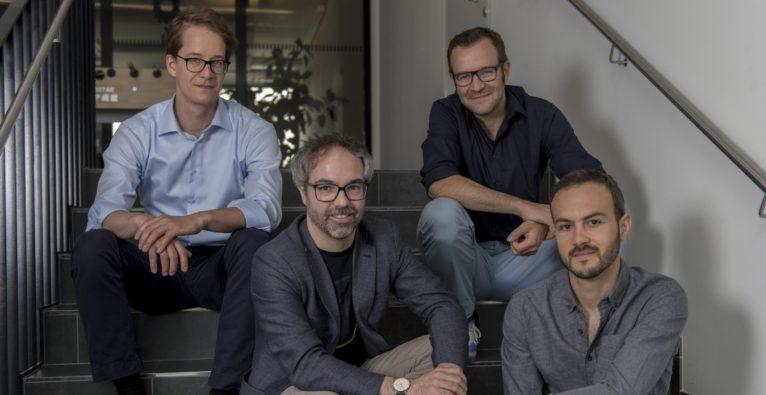 (c) V_labs. Das Gründerteam von V_labs (v.l.): Georg Frick, Marcel Grosskopff, Andreas Gähwiler und Lukas Meusburger