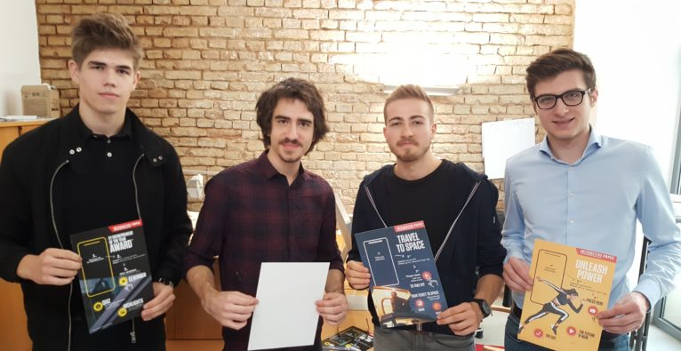 Das Interactive Paper-Team vlnr.: Tobias Macke, Merlin Duty, Raphael Besnier und Adrian Strobl