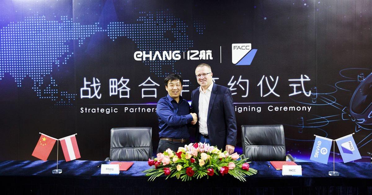 EHang Flugtaxi Modell 216 - Partnerschaft mit FACC