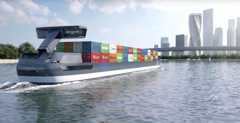 Port-Liner ist nach angaben des Herstellers das erste emissionsfreie E-Containerschiff.
