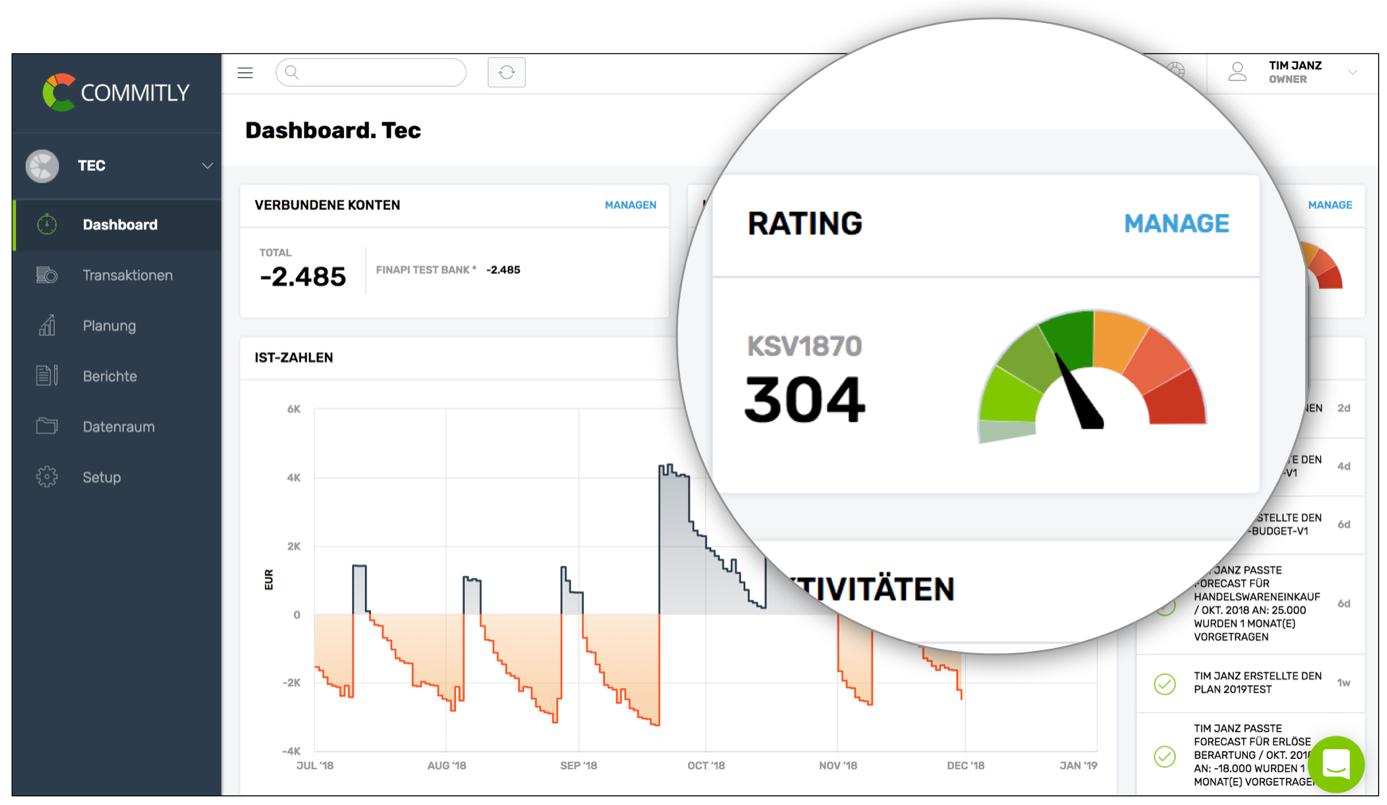 commitly: Intergration des KSV1870-Ratings in der App.