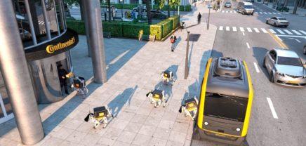 Futuristisches Zustellungsteam: Roboter-Hunde und autonomes Fahrzeug CUbE von Continental