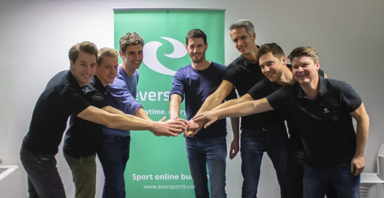 © Eversports v.l.n.r.: Philipp Braunsberger (CFO Eversports), Emanuel Steininger (VP of Engineering Eversports), Vincent van den Tol (CPO Fitmanager), Maarten Borgers (CEO Fitmanager), Hanno Lippitsch (CEO Eversports), Stefan Feirer (CPO), Thomas Fritz (CTO)