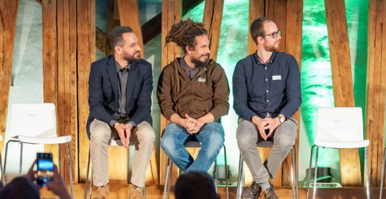 Die Top 3 Greenstarter 2019 - (vlnr.) Armand Colard (cleanvest), Niko Bogianzidis (öKlo) und Sören Lex (plasticpreneur)
