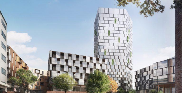 """Konzept """"NeuBau3"""" in der Tabakfabrik Linz - geplante Sicht aus dem Innenhof"""