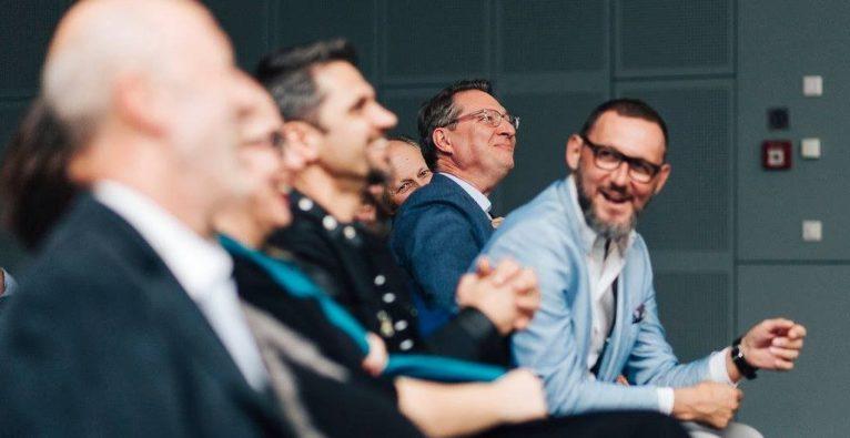 Hansi Hansmann, Michael Altrichter, Nikolaus Futter und Paul Voithofer bei der aaia-Geburtstagsfeier