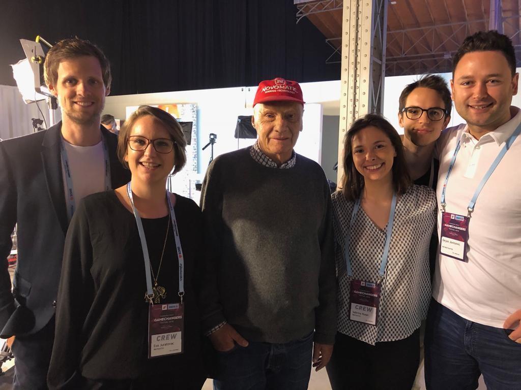 Ein Teil des brutkasten-Teams traf Niki Lauda beim 4gamechangers 2018