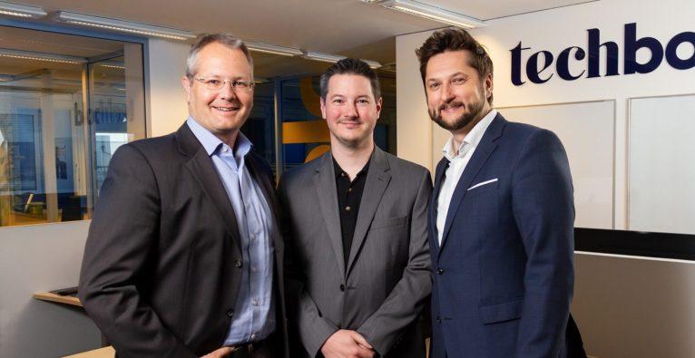 (c) techbold / Marin Lazerov: Gerald Reitmayr, Vorstand techbold, Martin Geldner, Bitquadrat Gründer, Damian Izdebski, techbold Gründer und CEO