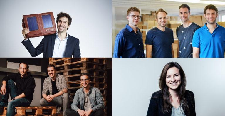 Die US-Zölle betreffen heimische Startups auf unterschiedliche Art und Weise - (l.o.) Stefan Ponsold, Sunnybag, (r.o.) das Tractive-Team, (l.u.) ByrdDas Logsta-Team, (r.u.) Petra Dobrocka, Byrd