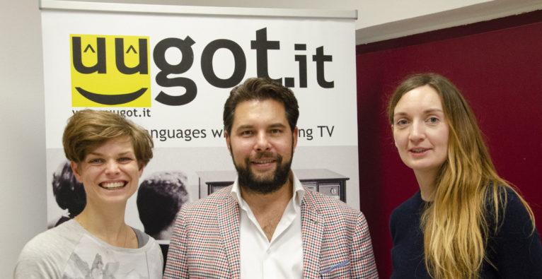 uugot.it: Bei der Präsentation im Ute Bock Bildungszentrum (Co-Founder und CEO Philipp Etzlinger in der Mitte)