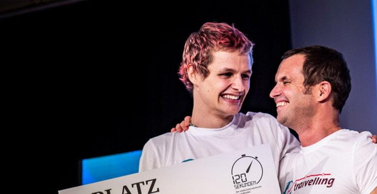 Elias und Matthias Bohun von Traivelling bei der Prämierung der besten Geschäftsidee Niederösterreichs 2019