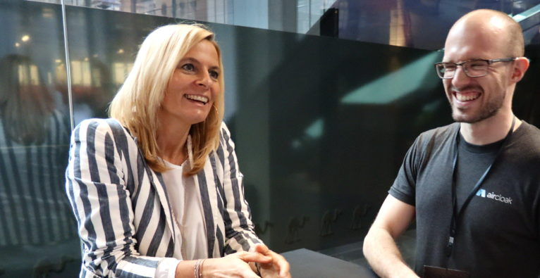 Corporate-Startup-Collaboration bei Wüstenrot: Nina Tamerl, Wüstenrot, und Felix Bauer, Aircloak