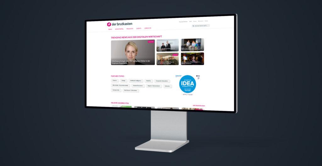 Ein Screenshot der neuen Webseite von derbrutkasten.com