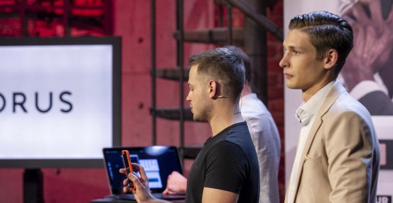 Die Horus Case-Gründer Christian Pittner und Oliver Wimmer beim 2 Minuten 2 Millionen-Pitch