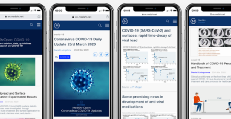 MedShr App Screenshot mit Corona