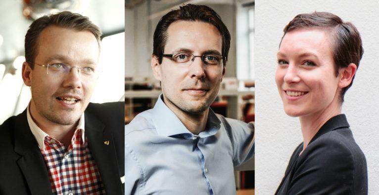 Neues Buchprojekt 100 Startups - Made in Austria: Berthold Baurek-Karlic (l) und Florian Kandler (m) sind die Autoren, Maggie Childs (r) ist die Verlegerin