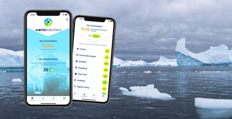 Die klimakompass-App von Worldwatchers ermittelt den CO2-Fußabdruck von Personen und Produkten