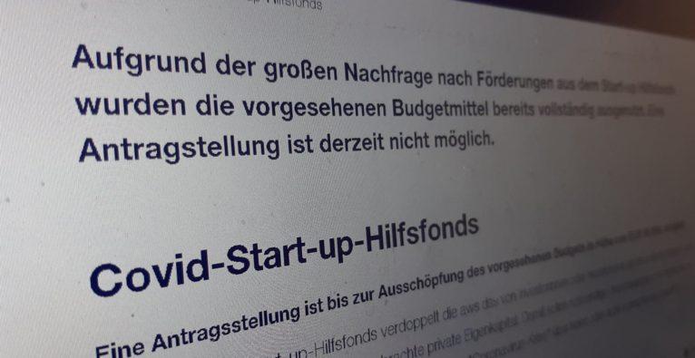 Auf der Page des aws zum Covid-Startup-Hilfsfonds wird über die Ausschöpfung des Budgets informiert