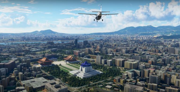 Die Spielegrafik des Microsoft Flight Simulator.