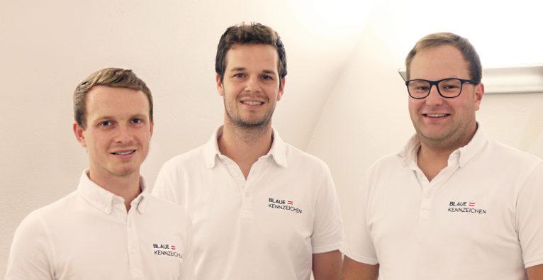 Mostdata: Das Gründerteam hinter blaue-kennzeichen.at vlnr.: Peter Hofmarcher, Klemens Engelbrechtsmüller, Philipp Luger