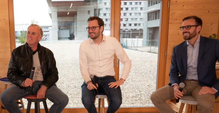 WhatAVenture: (vlnr.) Norbert Kraihamer, Stefan Perkmann Berger und Philippe Thiltges im brutkasten-Talk