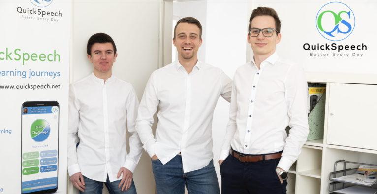 QuickSpeech: Das Kernteam (vlnr.) COO Christian Woltran, Gründer und CEO Lukas Snizek und CTO Patrick Riemer