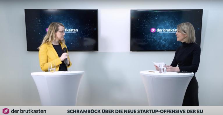 Margarete Schramböck im Video-Talk mit dem brutkasten