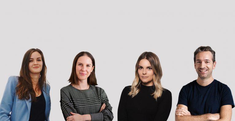 Die Blue Luluuu-Initiatorinnen Lea Hierzenberger, Sophie Maier und Denise Dorn sowie Calm/Storm-Mitgründer Lucanus Polagnoli