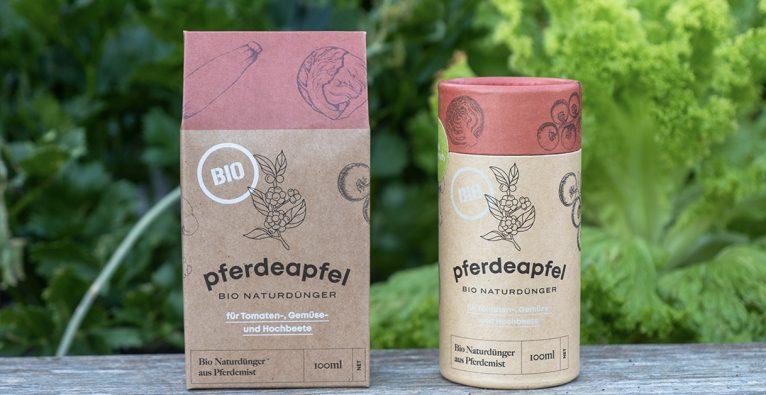 Pferdeapfel: Verarbeiteter Pferdemist in der 100 ml-Verpackung als Werbemittel