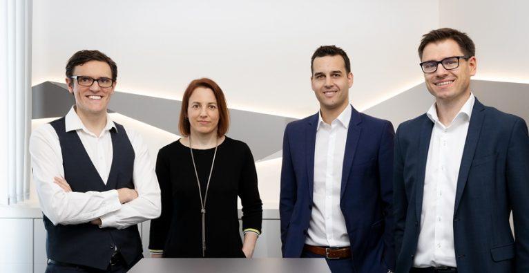 Workheld: Das Management-Team CTO Stefan Stift, COO Christine Geier, CEO Benjamin Schwärzler und CSO Martin Schober