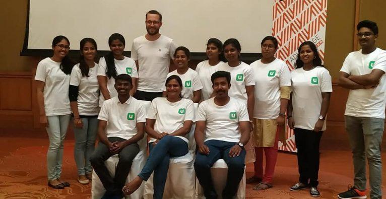 Unispotter-Co-Founder Christoph Trost bei einer Veranstaltung des Startups in Indien 2019