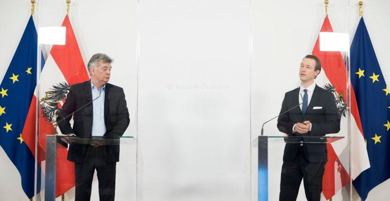 Kogler und Blümel verkünden Verlängerung von Ausfallsbonus, Härtefallfonds und anderen Hilfsmaßnahmen