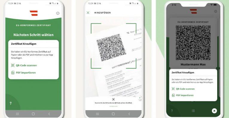 Der Grüne Pass ist nun auch in Österreich als App verfügbar © Screenshot