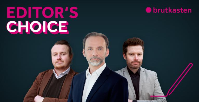 Editor's Choice mit Dominik Perlaki (brutkasten), Piotr Kwasniak (Mastercard Austria), Dominik Meisinger (brutkasten)