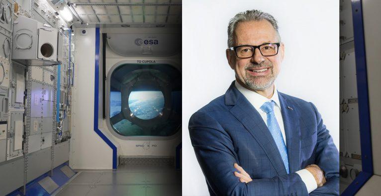 Josef Aschbacher, Generaldirektor der ESA, spricht 2021 am IoT Day von A1 © ESA/Montage